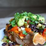 Baked Sweet Potatoes with Cashew Creme and Southwestern Beans