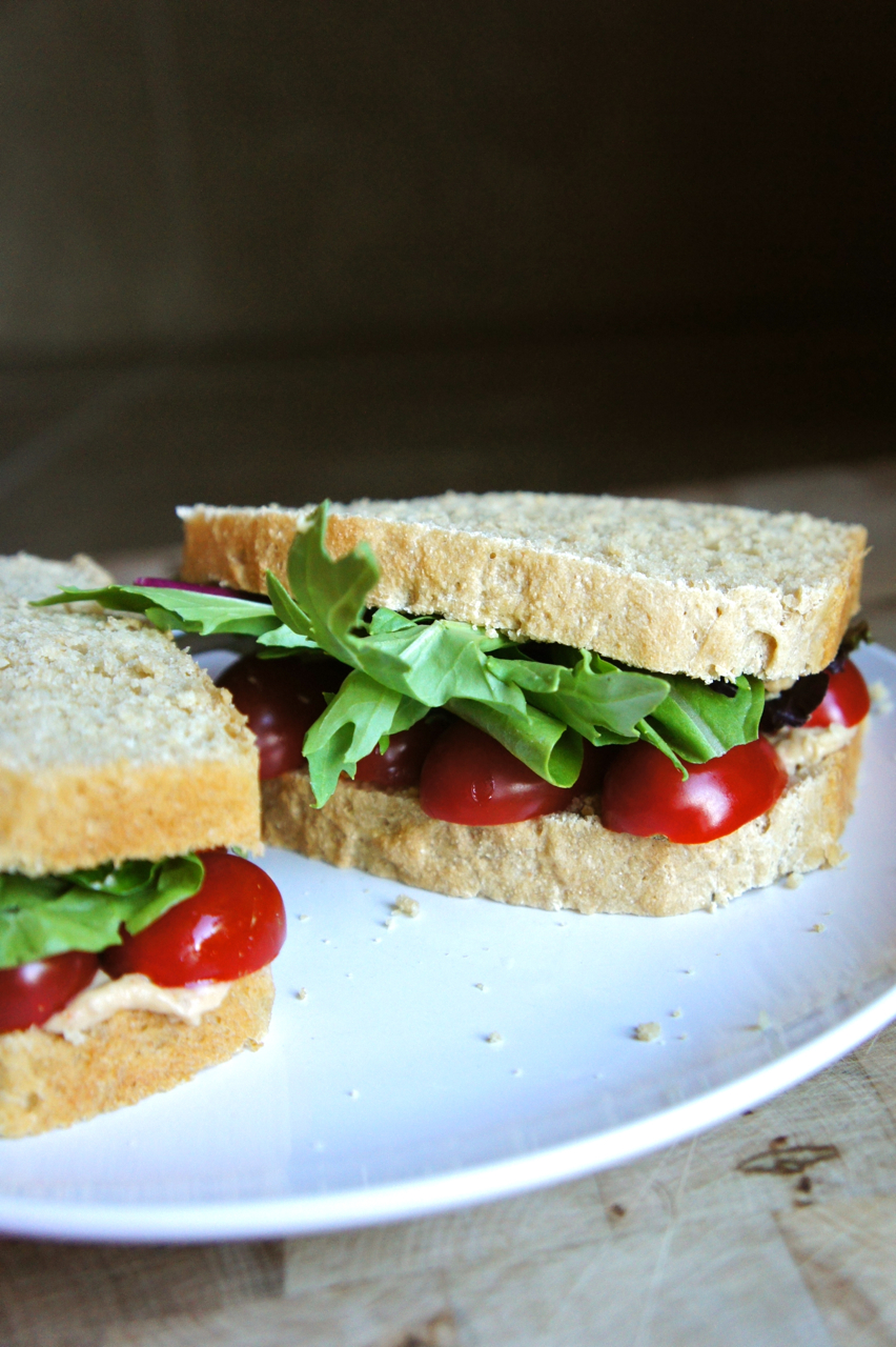 Hummus, Lettuce, & Tomato Sandwich on Homemade Whole Wheat
