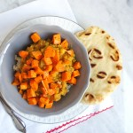Red Lentil Curry with Roasted Sweet Potato Cubes