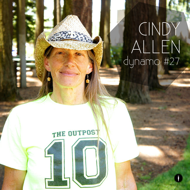 Dynamo: Cindy Allen - Cindy grew up in a trailer court, now runs a free lunch and activity program, loves to carry things, eat greens, and wants people to find Jesus through her.